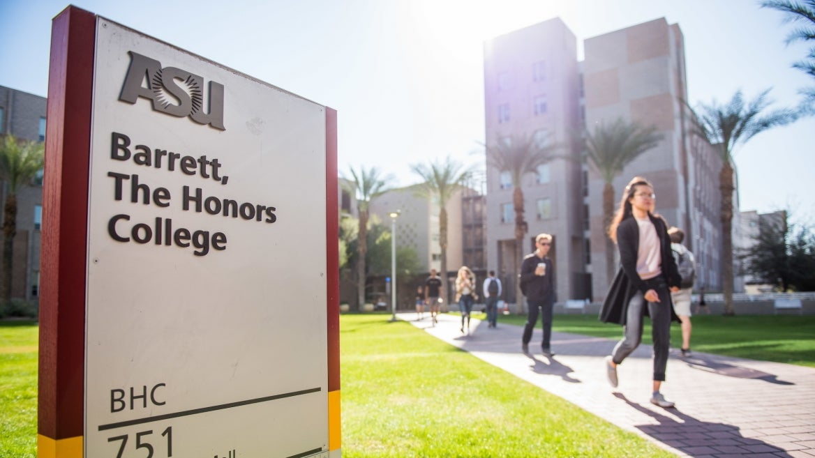 exterior of ASU's Barrett, The Honors College campus as students walk to class