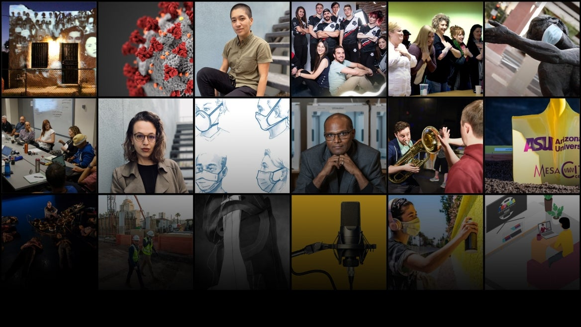 A collage of images of Herberger Institute students and faculty