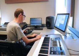 Music student working on a music piece